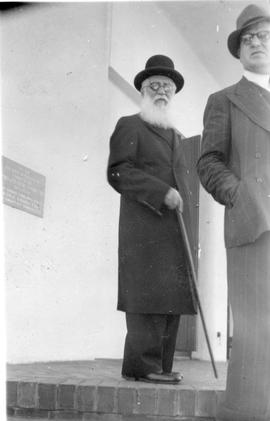 "Abe Mirvish, ""Bernie's Wedding, on steps of Shul Vredehoek, Jan 1946"""