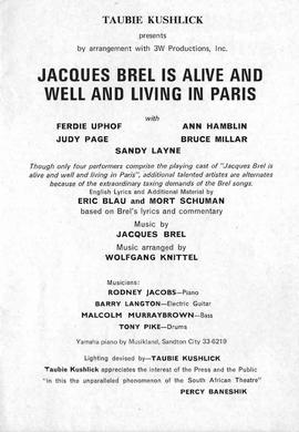 "Taubie Kushlick, ""Jacque""s Brel is alive & well & living in Paris, 2"""