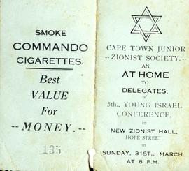 "Abe Mirvish, ""Cape Town Junior Zionist Society Dance Card, 2"""