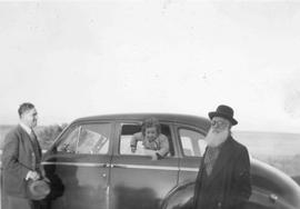 "Abe Mirvish, ""Rabbi Mirvish, Gillian Mirvish, and Issy Mirvish at car"""
