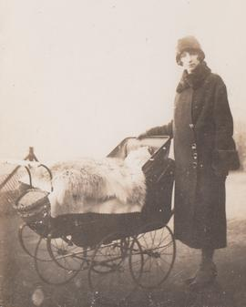 "Schamroth and Taub Families, ""Dora Schamroth standing next to the pram of Leo Schamroth"""